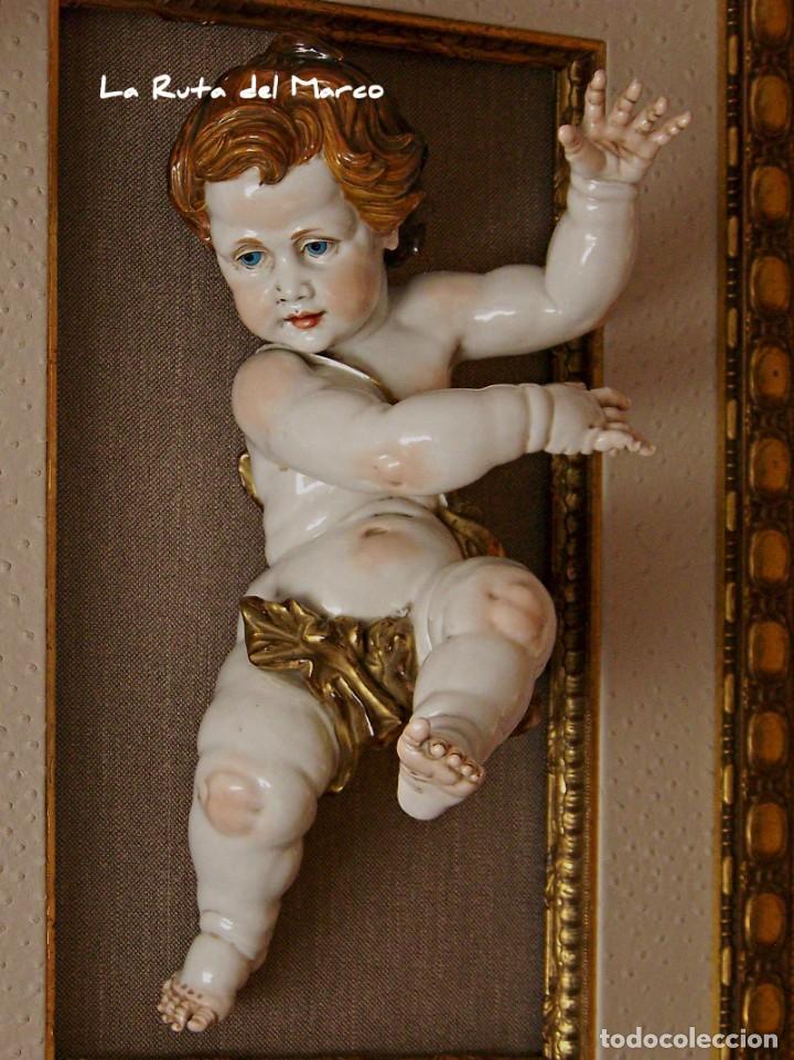 Antigüedades: Algora - Ángel 45 cm - Cuadro en relieve con querubín de cerámica - Foto 8 - 137335142