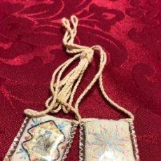 Antigüedades: ESCAPULARIO BORDADO EN HILO DE LA VIRGEN DEL CARMEN - MEDIDA 3X2,5 CM - RELIGIOSO. Lote 137343870