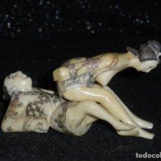 Antigüedades: KAMASUTRA PAREJA ERÓTICA EN HUESO DE MAMUTH. Lote 137344198