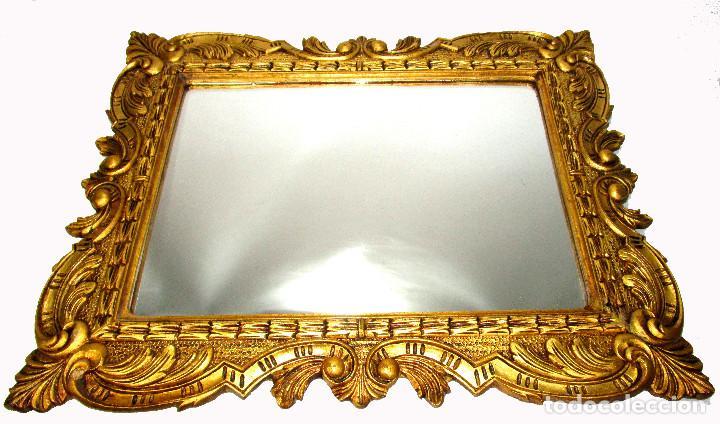 GRAN ESPEJO ANTIGUO 95X75CM PRECIOSO MARCO MADERA ORO IDEAL RECIBIDOR O HABITACION (Antigüedades - Muebles Antiguos - Espejos Antiguos)