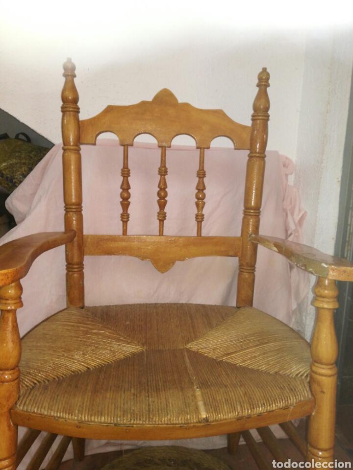 Antigüedades: Gran sillon de enea para restaurar - Foto 2 - 137395154