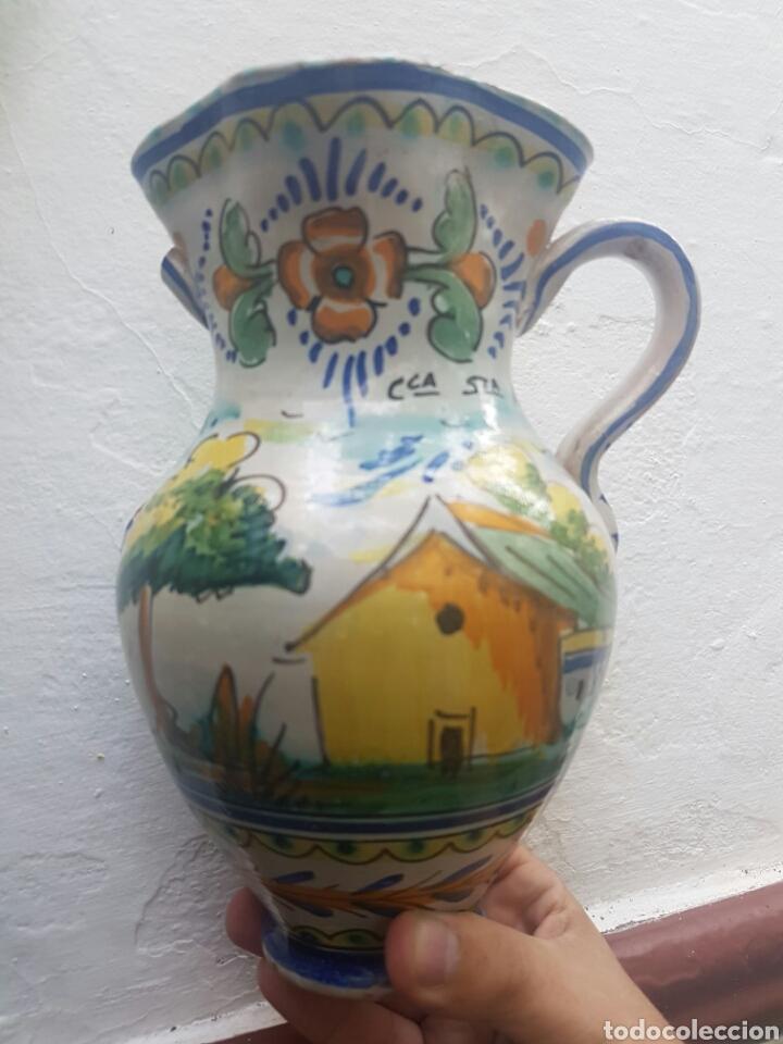 Antigüedades: ANTIGUA JARRA DE DOS ASAS CERAMICA DE TRIANA - Foto 5 - 137400146