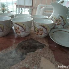 Antigüedades: JUEGO DE CAFE CON LECHE CON LECHERA PORCELANA FINA AÑOS ????. Lote 137450418