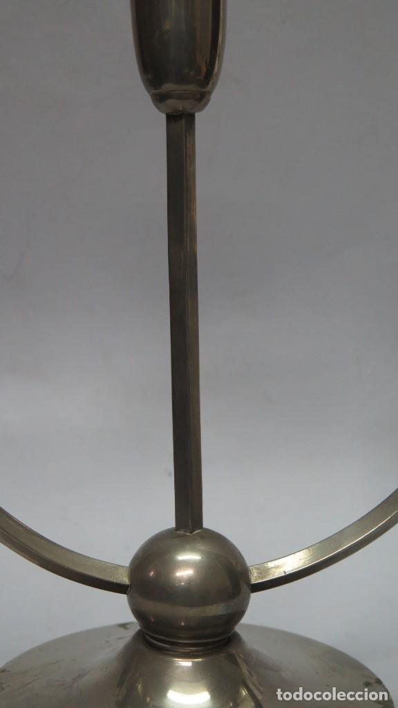 Antigüedades: ORIGINAL CANDELABRO DE TRES LUCES PLATEADO. MEDIADOS SIGLO XX - Foto 3 - 137455190