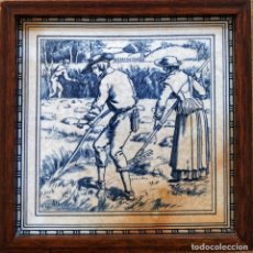 Antigüedades: BONITO AZULEJO ENMARCADO, CAMPESINOS DEL SIGLO XVII. Lote 137486050