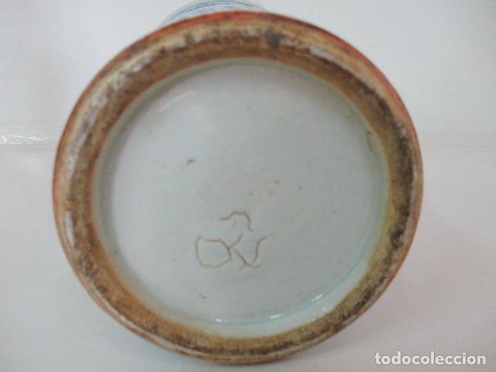 Antigüedades: Bonito Jarrón - Porcelana China - Serie Azul - Detalles con Flores - Dinastía Qing - Foto 9 - 137525278