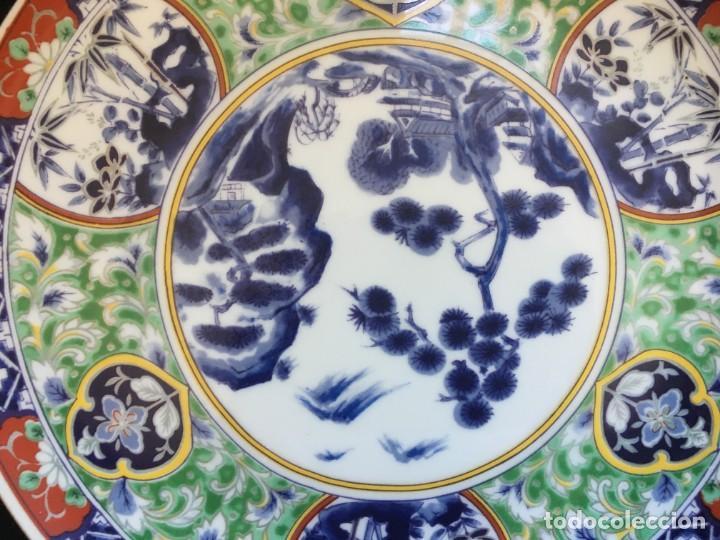 Antigüedades: PRECIOSO PLATO DE PORCELANA JAPONESA, BELLAMENTE ILUSTRADO - Foto 2 - 137602090
