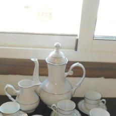 Antigüedades: ANTIGUO JUEGO DE CAFÉ EN PORCELANA BLANCA. Lote 137641502