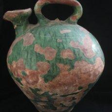 Antigüedades: FANTASTICO BOTIJO PARA ACEITE DE ALFARERIA CATALANA, EN TERRACOTA VIDRIADA, FINALES DEL XIX. Lote 137692682