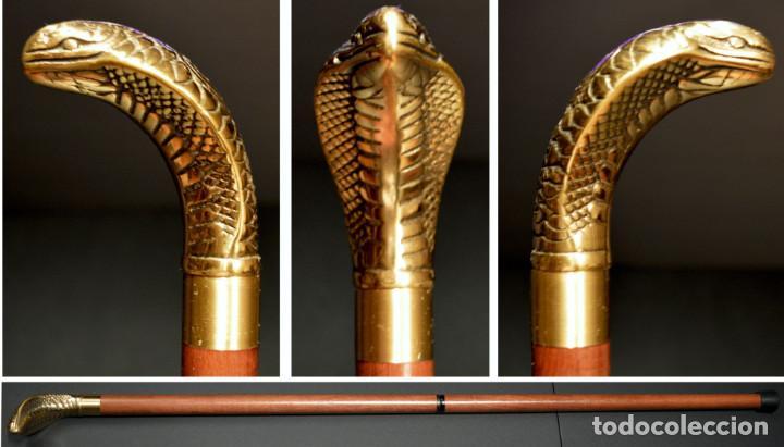 Antigüedades: ANTIGUO BASTON MANGO DE BRONCE FORMA DE SERPIENTE COBRA PLEGABLE - Foto 2 - 137710382