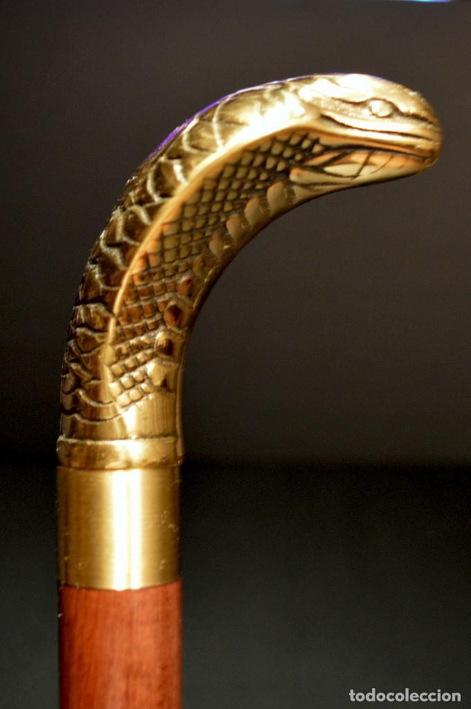 Antigüedades: ANTIGUO BASTON MANGO DE BRONCE FORMA DE SERPIENTE COBRA PLEGABLE - Foto 8 - 137710382