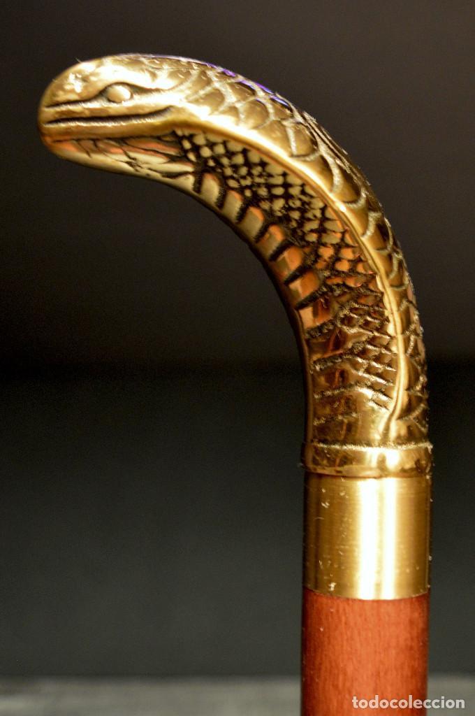 Antigüedades: ANTIGUO BASTON MANGO DE BRONCE FORMA DE SERPIENTE COBRA PLEGABLE - Foto 9 - 137710382