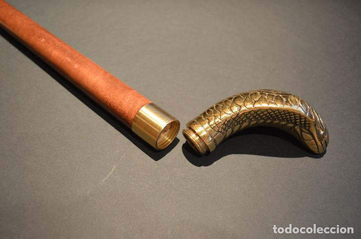 Antigüedades: ANTIGUO BASTON MANGO DE BRONCE FORMA DE SERPIENTE COBRA PLEGABLE - Foto 22 - 137710382