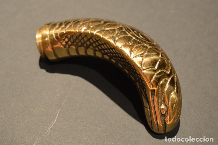 Antigüedades: ANTIGUO BASTON MANGO DE BRONCE FORMA DE SERPIENTE COBRA PLEGABLE - Foto 25 - 137710382