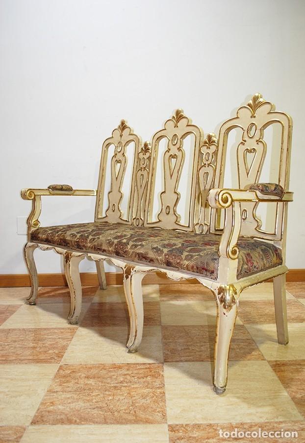 Antigüedades: ANTIGUO SOFÁ TALLADO MADERA BEIGE Y PAN DE ORO - Foto 5 - 137726878