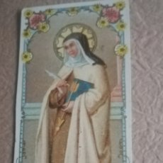 Antigüedades: ANTIGUA CROMO LITOGRAFÍADA DE SANTA TERESA. Lote 137746193