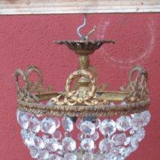 Antigüedades: ANTIGUA LAMPARA DE BRONCE Y CRISTAL TALLADO. REDONDA.. Lote 137763354