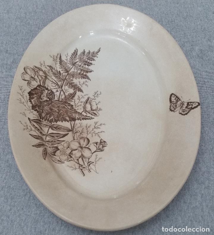 PRECIOSA Y ANTIGUA FUENTE/BANDEJA DE SANDEMAN DE SAN JUAN DE AZNALFARACHE S.XIX (Antigüedades - Porcelanas y Cerámicas - San Juan de Aznalfarache)