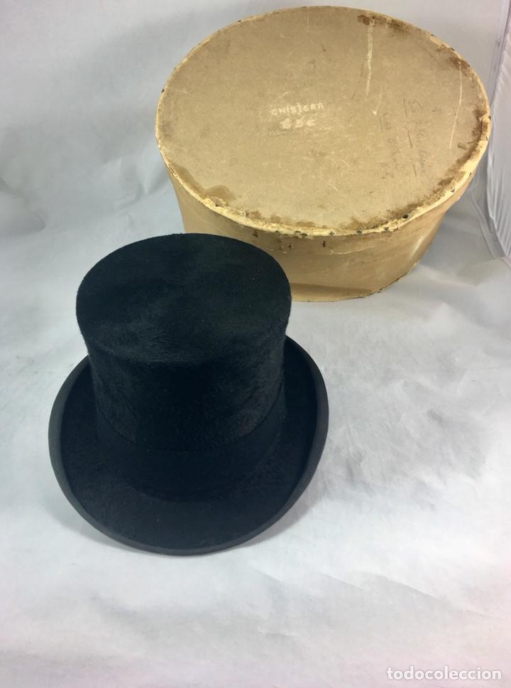 Sombrero tipo copa -chistera negro de piel de foca - ppos siglo xx sevilla- b9423c56ad2