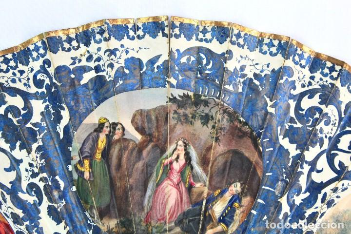 Antigüedades: Precioso abanico s XIX litografía y pintado a mano, coloreado a mano. A dos escenas, dos caras. - Foto 2 - 137826922
