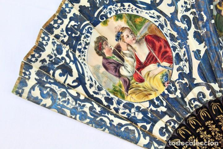Antigüedades: Precioso abanico s XIX litografía y pintado a mano, coloreado a mano. A dos escenas, dos caras. - Foto 4 - 137826922