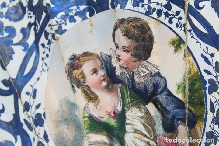 Antigüedades: Precioso abanico s XIX litografía y pintado a mano, coloreado a mano. A dos escenas, dos caras. - Foto 6 - 137826922
