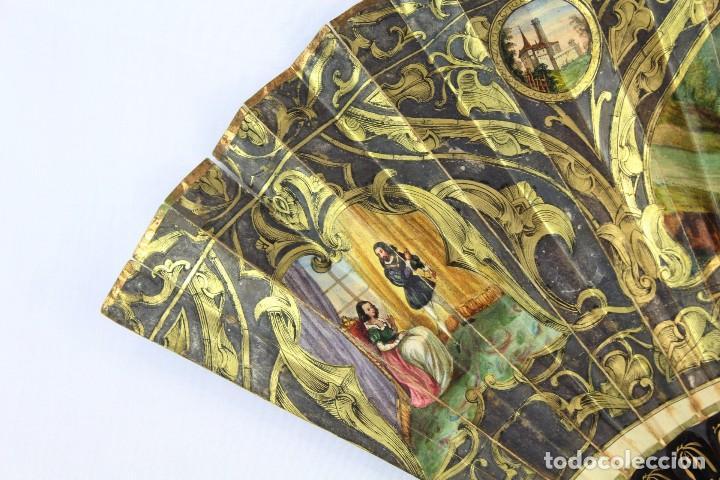 Antigüedades: Precioso abanico s XIX litografía y pintado a mano, coloreado a mano. A dos escenas, dos caras. - Foto 11 - 137826922