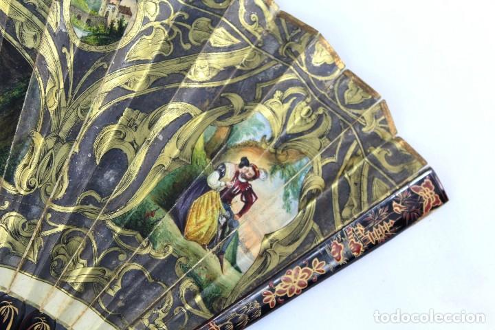 Antigüedades: Precioso abanico s XIX litografía y pintado a mano, coloreado a mano. A dos escenas, dos caras. - Foto 12 - 137826922
