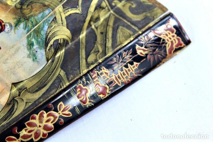 Antigüedades: Precioso abanico s XIX litografía y pintado a mano, coloreado a mano. A dos escenas, dos caras. - Foto 13 - 137826922