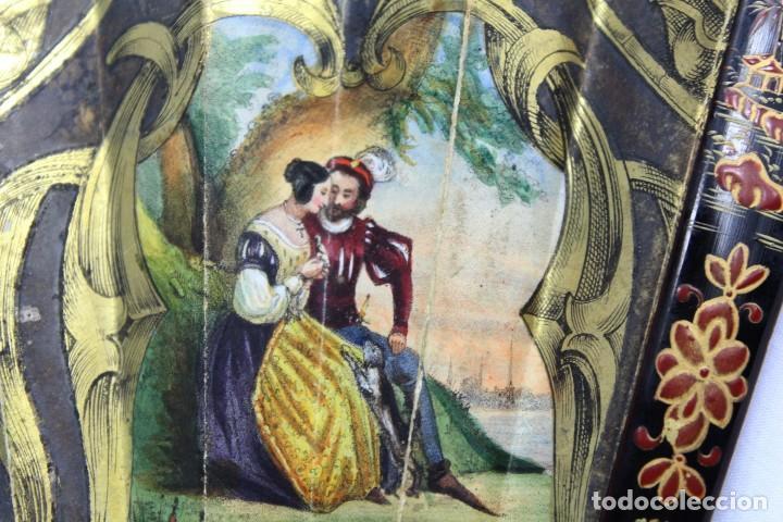 Antigüedades: Precioso abanico s XIX litografía y pintado a mano, coloreado a mano. A dos escenas, dos caras. - Foto 14 - 137826922