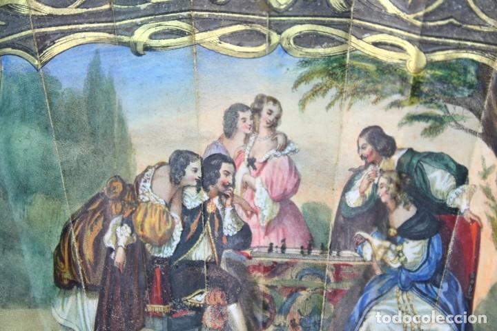 Antigüedades: Precioso abanico s XIX litografía y pintado a mano, coloreado a mano. A dos escenas, dos caras. - Foto 15 - 137826922