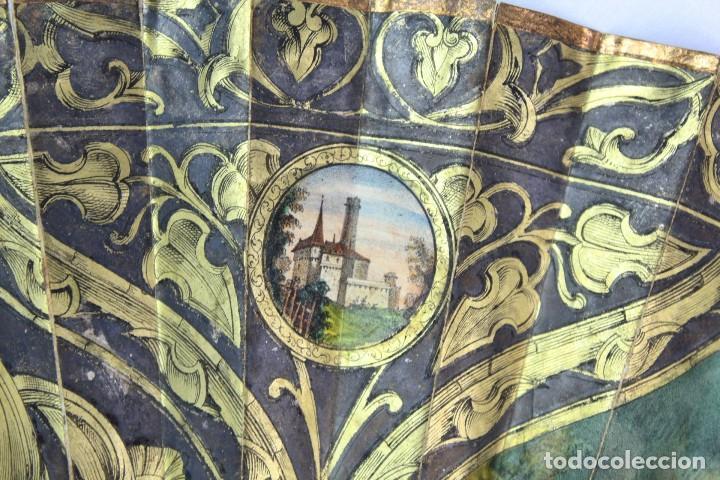 Antigüedades: Precioso abanico s XIX litografía y pintado a mano, coloreado a mano. A dos escenas, dos caras. - Foto 16 - 137826922