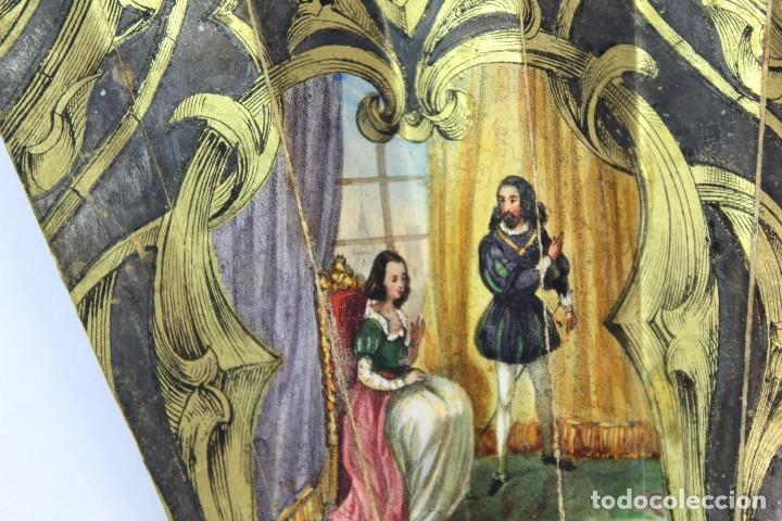 Antigüedades: Precioso abanico s XIX litografía y pintado a mano, coloreado a mano. A dos escenas, dos caras. - Foto 17 - 137826922