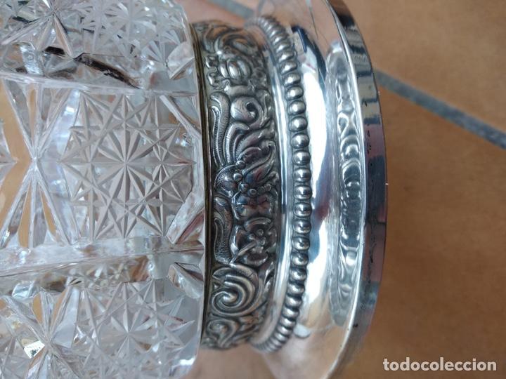 Antigüedades: Precioso centro alto en cristal tallado y base de plata - Foto 2 - 137844996