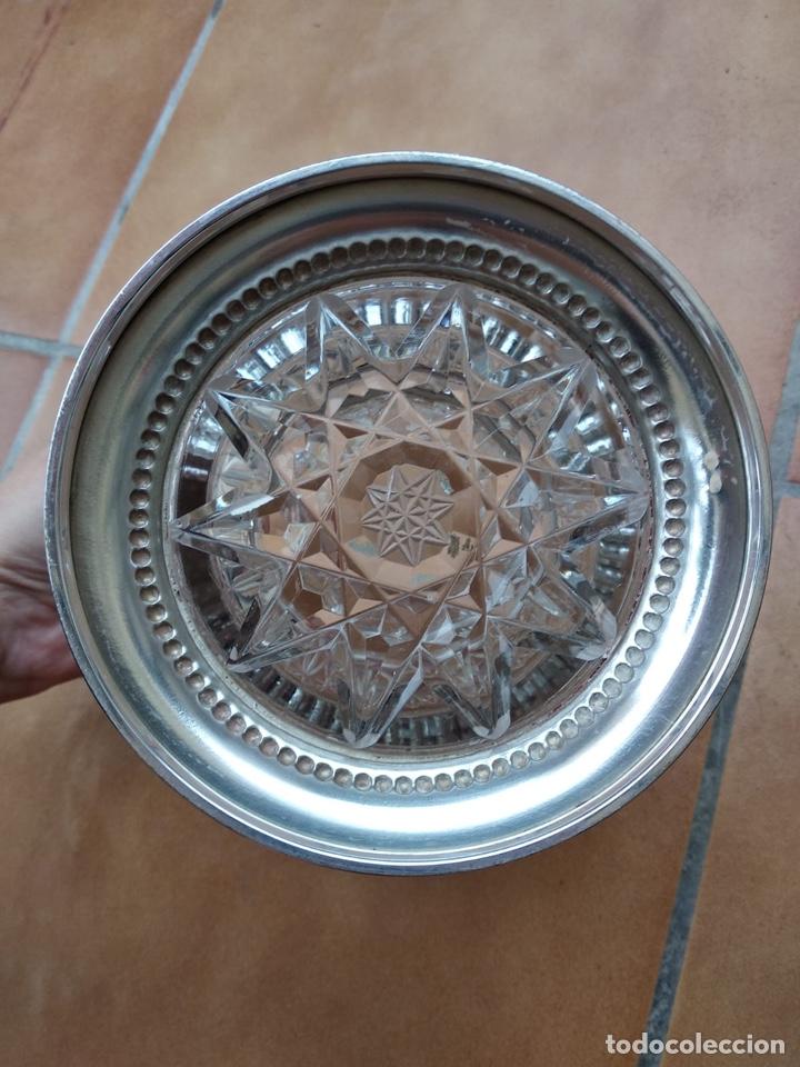 Antigüedades: Precioso centro alto en cristal tallado y base de plata - Foto 4 - 137844996