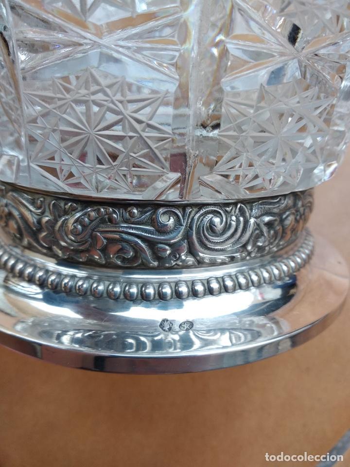 Antigüedades: Precioso centro alto en cristal tallado y base de plata - Foto 5 - 137844996