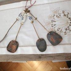 Antigüedades: ANTIGUO JUEGO DE CUCHARONES,ESPUMADERA Y TENEDOR,MANGO DE PORCELANA,. Lote 137903722