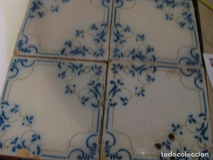 CUATRO AZULEJOS CATALANES SIN ENMARCAR **20 X 20** (Antigüedades - Porcelanas y Cerámicas - Azulejos)