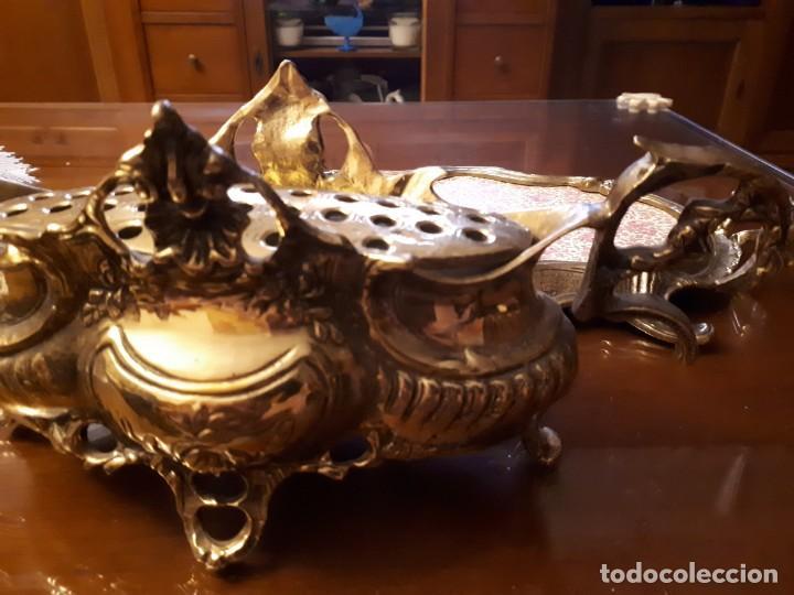 Antigüedades: antiguo centro de mesa de bronce - Foto 4 - 137926318