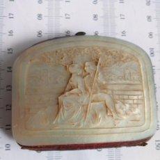 Antigüedades: MONEDERO DE NÁCAR,TALLADO,COSTUMBRISTA, ESCENA GALANTE SIGLO XIX. Lote 137973638