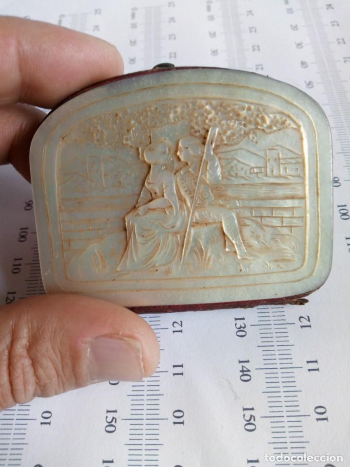 Antigüedades: MONEDERO DE NÁCAR,TALLADO,COSTUMBRISTA, escena galante SIGLO XIX - Foto 2 - 137973638