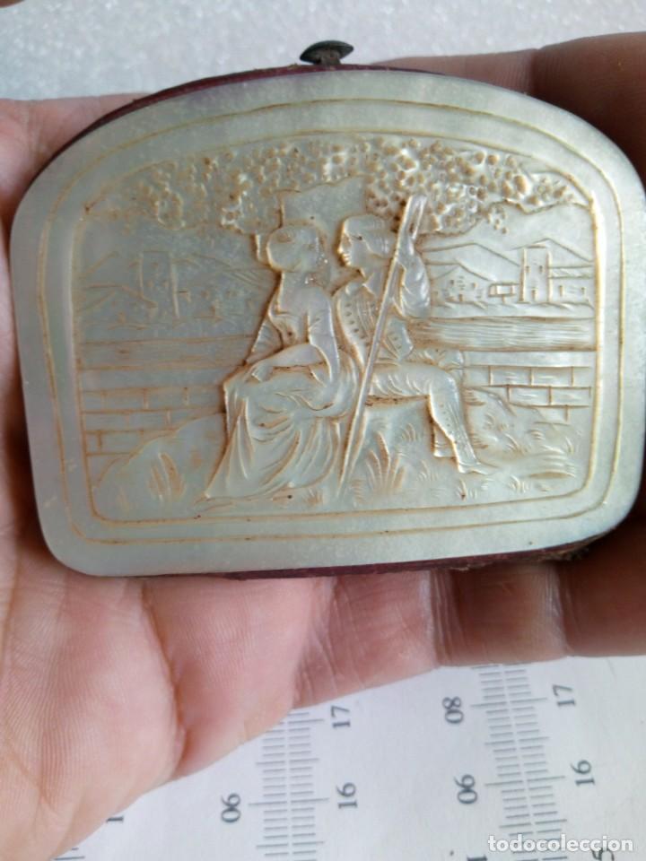 Antigüedades: MONEDERO DE NÁCAR,TALLADO,COSTUMBRISTA, escena galante SIGLO XIX - Foto 13 - 137973638