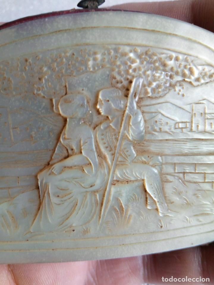 Antigüedades: MONEDERO DE NÁCAR,TALLADO,COSTUMBRISTA, escena galante SIGLO XIX - Foto 14 - 137973638