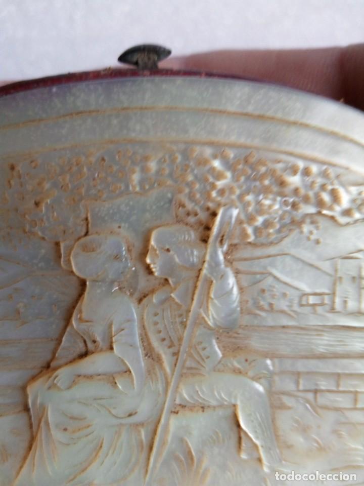 Antigüedades: MONEDERO DE NÁCAR,TALLADO,COSTUMBRISTA, escena galante SIGLO XIX - Foto 15 - 137973638