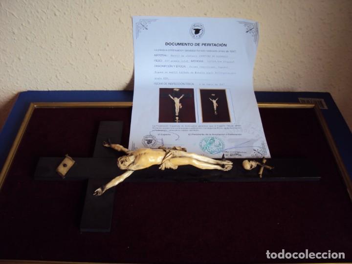 (ANT-181066) CRISTO CRUCIFICADO - ESPAÑOL - MARFIL - SIGLO XVIII O XIX - CERTIFICADO (Antigüedades - Religiosas - Crucifijos Antiguos)