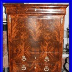 Antigüedades: SECRETER ABATIBLE DE CAOBA CON TIRADORES DE BRONCE S. XIX LUIS FELIPE. Lote 138026930