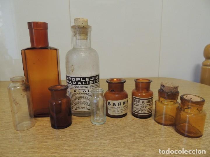 LOTE 9 BOTES FARMACIA (Antigüedades - Cristal y Vidrio - Farmacia )