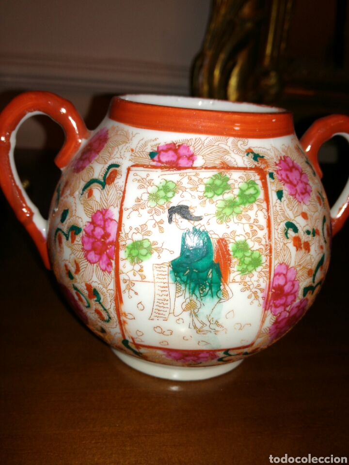 Antigüedades: Azucarero de porcelana Japonesa cascara de huevo - Foto 3 - 138052105