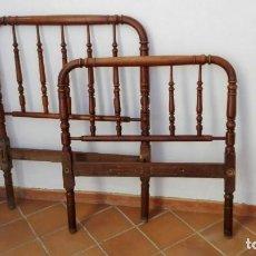 Antigüedades: CAMA DE MADERA TORNEADA CON SOMIER DE LAMAS. Lote 138057450