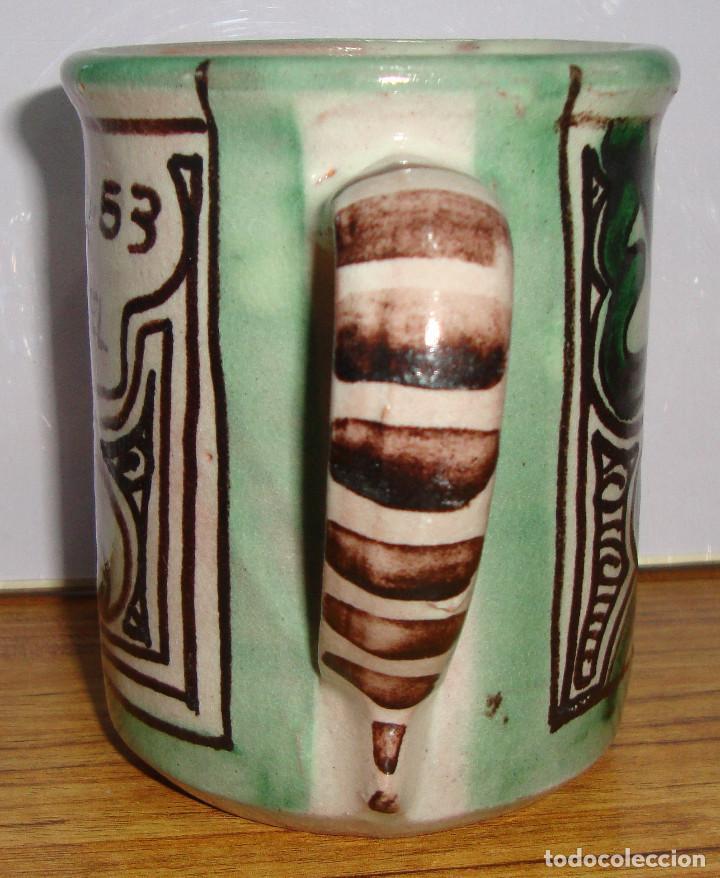 Antigüedades: (TC-126) CURIOSA TAZA JARRA CERAMICA DOMINGO PUNTER DE TERUEL PARA LA ZONA 53 MILITAR - Foto 2 - 138083506